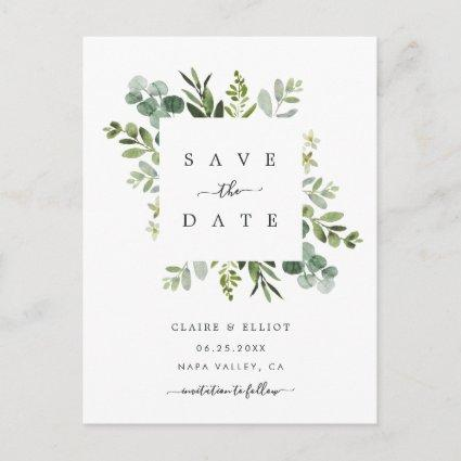 Eucalyptus Foliage Square Frame Save the Date Announcement