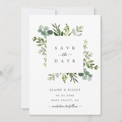Eucalyptus Foliage Square Frame Save the Date Card