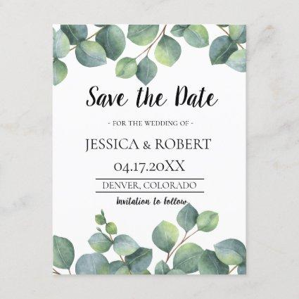 Eucalyptus Foliage Wedding Save the Date