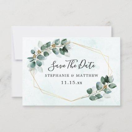 Eucalyptus Geometric Elegant Wedding Save The Date
