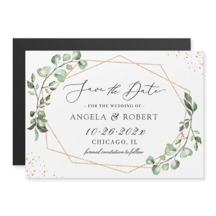 Eucalyptus Gold Geometric Save the Date Magnet