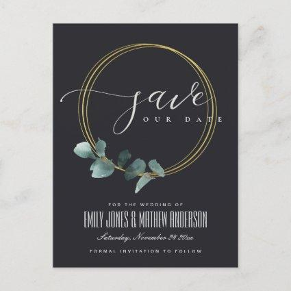 EUCALYPTUS GREEN BLACK FAUNA WREATH SAVE THE DATE ANNOUNCEMENT
