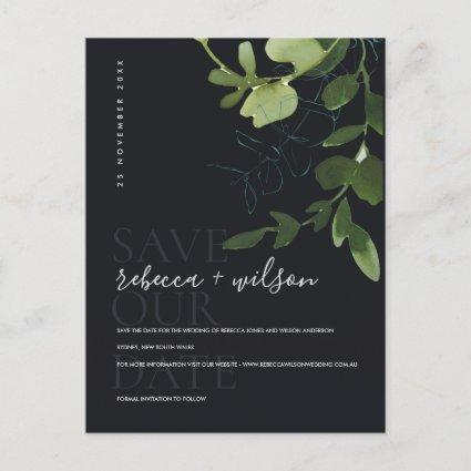 EUCALYPTUS GREEN BLACK WATERCOLOR SAVE THE DATE ANNOUNCEMENT