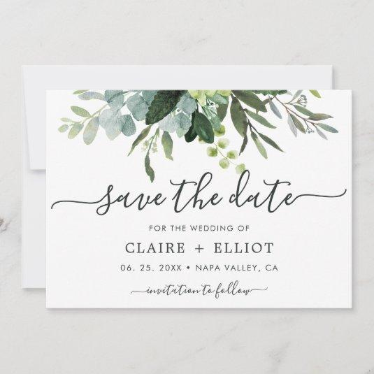 Eucalyptus Green Foliage Save the Date Card