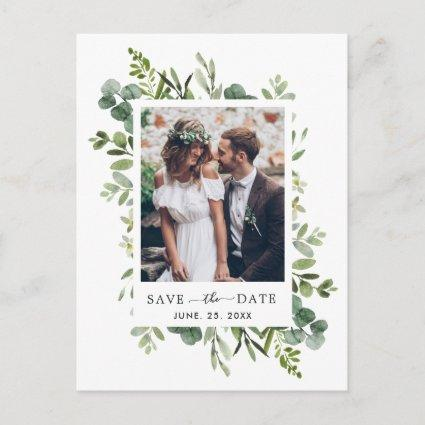Eucalyptus Green Foliage Save the Date Photo Announcement