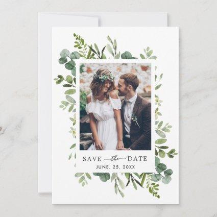 Eucalyptus Green Foliage Save the Date Photo Card