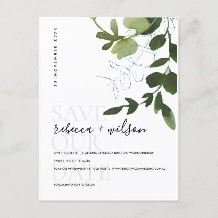 EUCALYPTUS GREEN  FOLIAGE WATERCOLOR SAVE THE DATE ANNOUNCEMENT