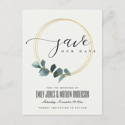 EUCALYPTUS GREEN GOLD FOLIAGE WREATH SAVE THE DATE ANNOUNCEMENT