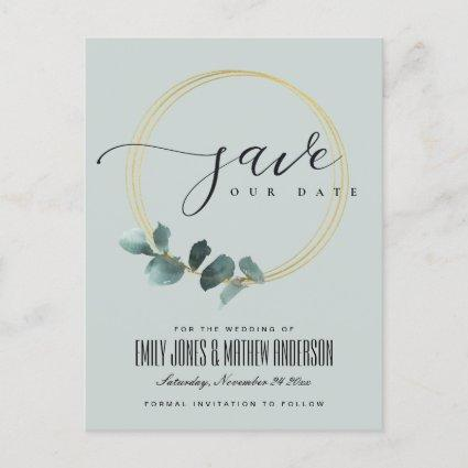 EUCALYPTUS GREEN GREY FOLIAGE WREATH SAVE THE DATE ANNOUNCEMENT