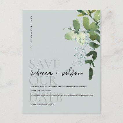 EUCALYPTUS GREEN GREY WATERCOLOR SAVE THE DATE ANNOUNCEMENT