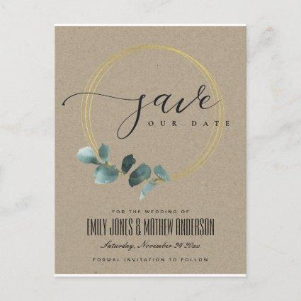 EUCALYPTUS GREEN KRAFT FAUNA WREATH SAVE THE DATE ANNOUNCEMENT