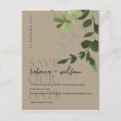 EUCALYPTUS GREEN KRAFT WATERCOLOR SAVE THE DATE ANNOUNCEMENT