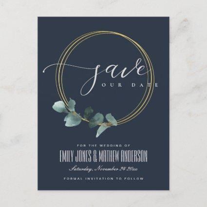 EUCALYPTUS GREEN NAVY FOLIAGE WREATH SAVE THE DATE ANNOUNCEMENT