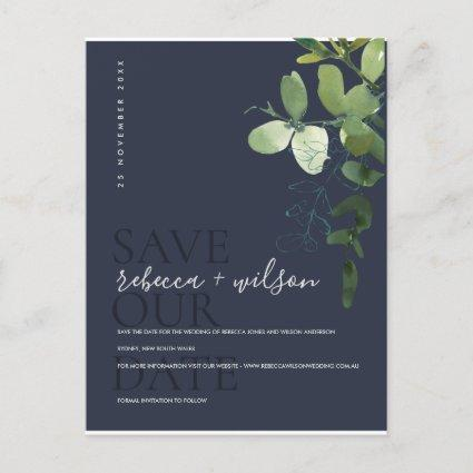 EUCALYPTUS GREEN NAVY WATERCOLOR SAVE THE DATE ANNOUNCEMENT