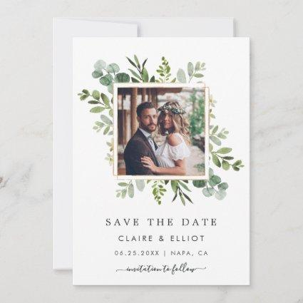 Eucalyptus Green Square Wreath Photo Save The Date