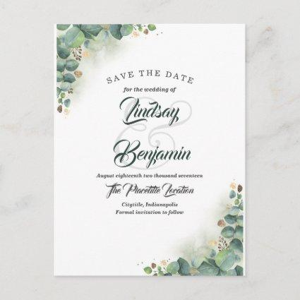 Eucalyptus Greenery and Gold Save the Date Announcement