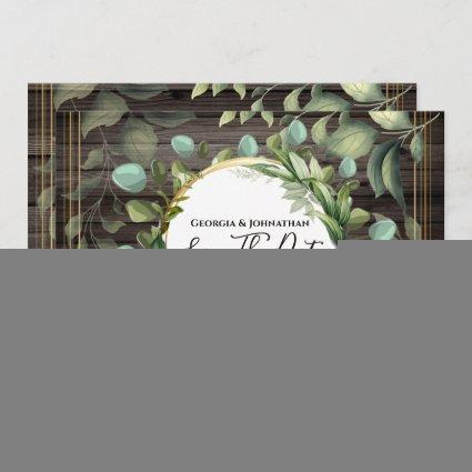 Eucalyptus greenery country wood grain gold green save the date