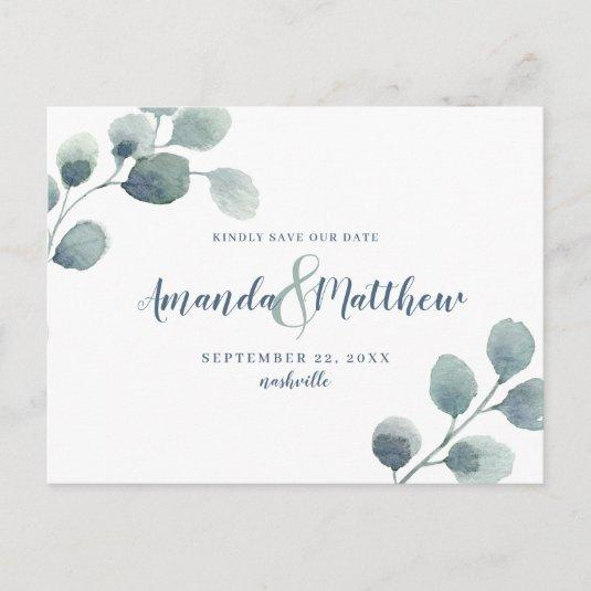 Eucalyptus Greenery Save the Date Blue Watercolor Announcement