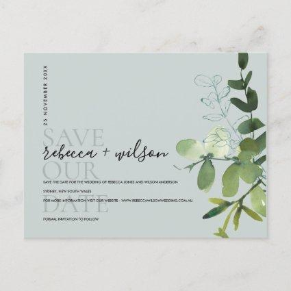 EUCALYPTUS GREY  FOLIAGE WATERCOLOR SAVE THE DATE ANNOUNCEMENT