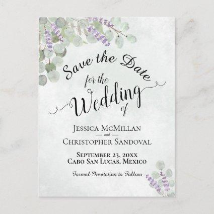 Eucalyptus & Lavender Boho Wedding Save the Date Announcement