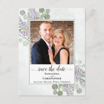 Eucalyptus & Lavender Wedding Save the Date Photo Announcement
