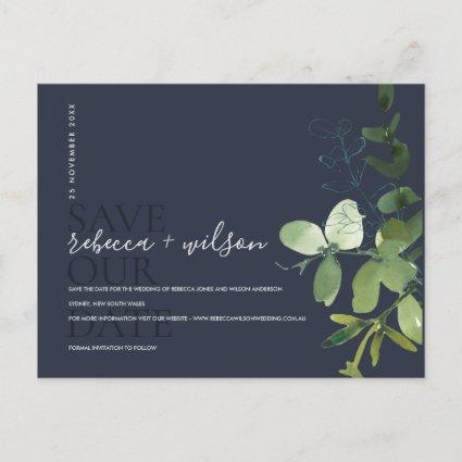 EUCALYPTUS NAVY  FOLIAGE WATERCOLOR SAVE THE DATE ANNOUNCEMENT
