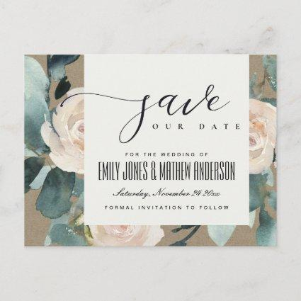 EUCALYPTUS ROSE BLUSH BOHO KRAFT SAVE THE DATE ANNOUNCEMENT