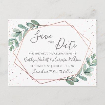 Eucalyptus Rose Gold Geometric Save The Date Announcement