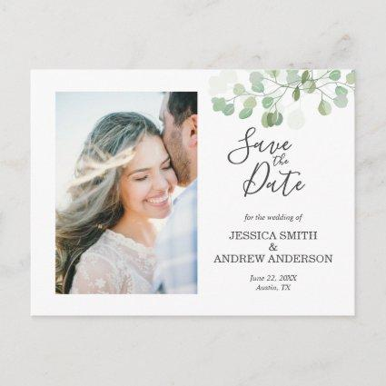Eucalyptus Save the Date Cards Elegant Greenery