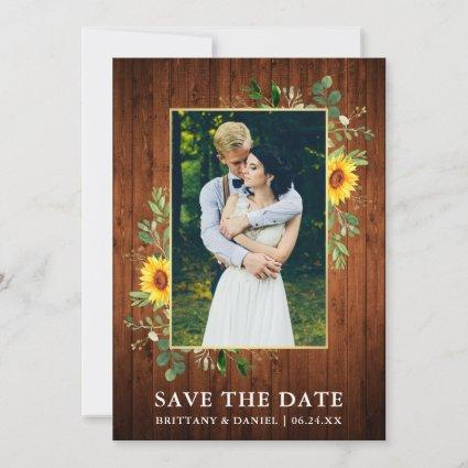 Eucalyptus Sunflower Wood Save The Date Card