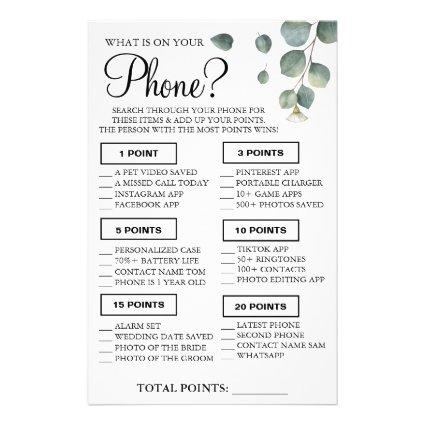 Eucalyptus What is on your phone Shower game card