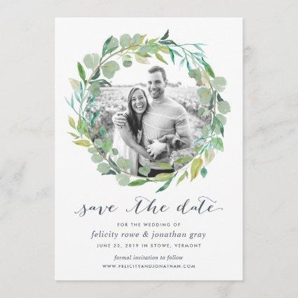 Eucalyptus Wreath Photo Save the Date Cards