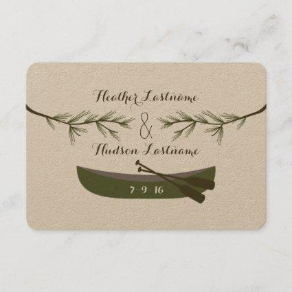 Evergreen Branches + Canoe Wedding Save The Date