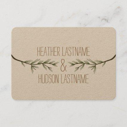 Evergreen Tree Branches Wedding Save The Date