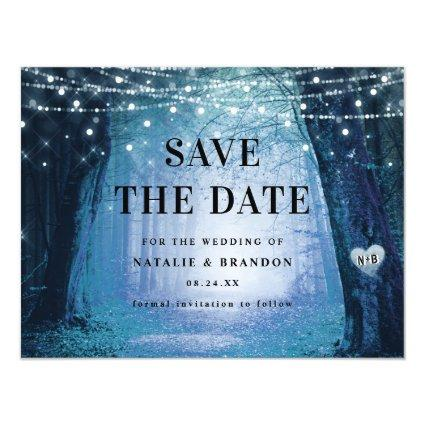 Evermore | Enchanted Forest Blue Save the Date Magnetic Invitation