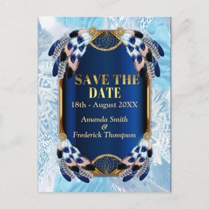Exotic-Parrot Blue tone feathers Save the Dates Announcement