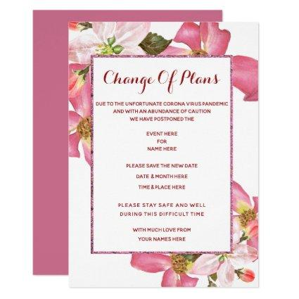 Exotic Watercolor Flowers Change Of Plan Invitation