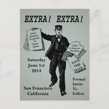 Extra! Extra! Vintage Newspaper Save The Date Announcement