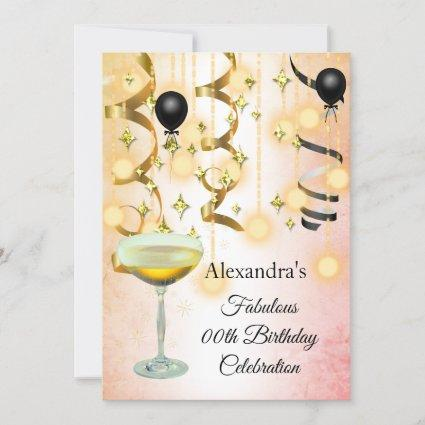 Fabulous Champagne Gold Pink Lights Party Invite