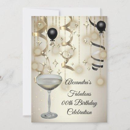 Fabulous Champagne Sepia Lights Party Invite