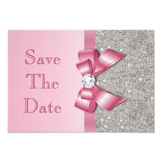 Fake Pink Bow Diamonds Save The Date Baby Shower Cards