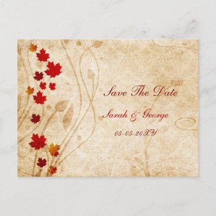 fall autumn brown leaves save the dates Announcements Cards
