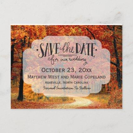 Fall Autumn Leaves Rustic Wedding Save The Date Announcement