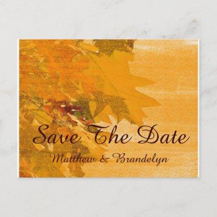 Fall Autumn Wedding Save The Date Post Card