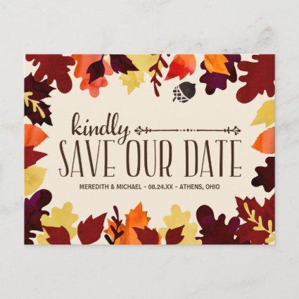 Fall Colors | Rustic Vintage Save the Date Announcement