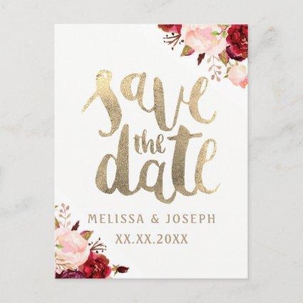 fall floral FAUX gold foil save the date Announcements Cards