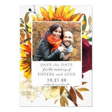 Fall Flowers Save the Date Magnetic Invitation