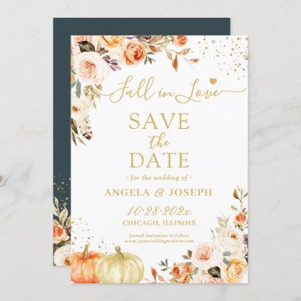 Fall in Love Autumn Gold Floral Pumpkins Wedding Save The Date
