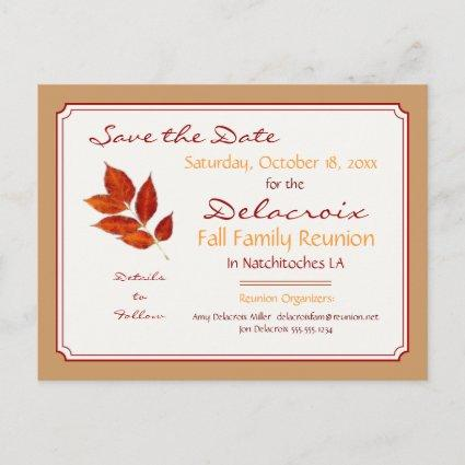 Fall Leaf Family Reunion, Party Save the Date Announcement