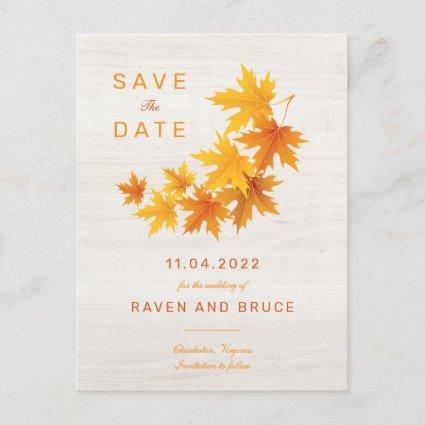 Fall Leaves on Rustic Wood Background Announcement